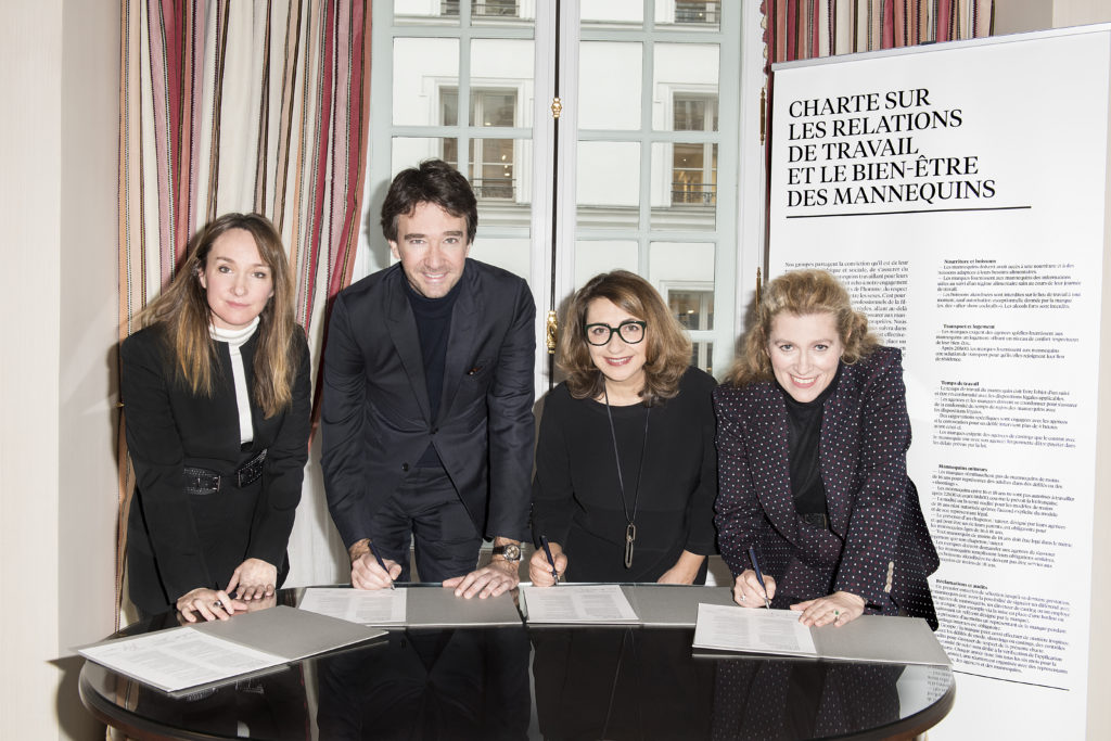 Erin Doherty, ELLE's Managing Editor, Antoine Arnault, member of LVMH's Board of Directors, Catherine Roig, Version Fémina's Managing Editor, and Marie-Claire Daveu, Kering's Chief sustainability officer and head of international institutional affairs. ©Emanuele Scorcelletti